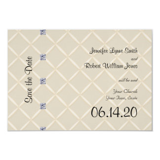 Ivory Quilted Bling Posh Wedding Save the Date Card