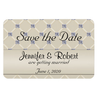 Ivory Quilted Bling Posh Wedding Save the Date Magnet