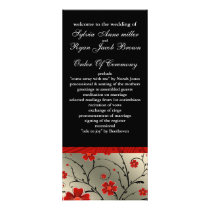 ivory red and black floral Wedding program