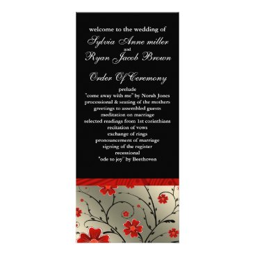 ivory red and black floral Wedding program