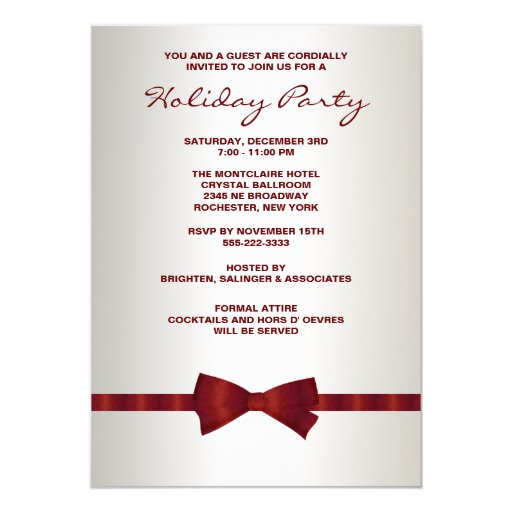 Ivory Red Bow Tie Corporate Christmas Party 5x7 Paper Invitation Card