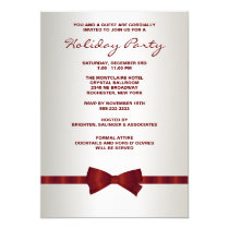 Ivory Red Bow Tie Corporate Christmas Party Invitation