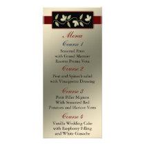 ivory red floral wedding menu