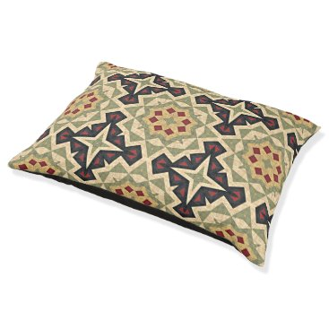 Aztec Themed Ivory Red Olive Green Black Eclectic Ethnic Look Pet Bed