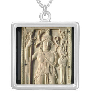 Ivory relief tablet silver plated necklace