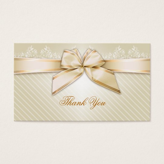 Ivory Ribbon Gold Stripes Thank You Business Card