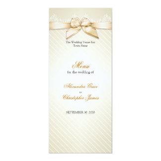 Ivory Ribbon Gold Stripes Wedding Menu 4x9.25 Paper Invitation Card