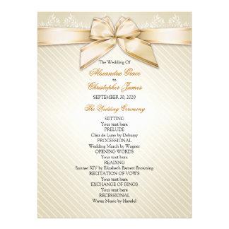 Ivory Ribbon Gold Stripes Wedding Program Custom Invites