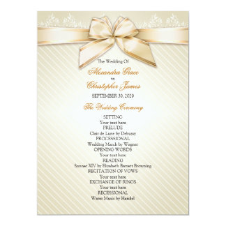 Ivory Ribbon Gold Stripes Wedding Program 6.5x8.75 Paper Invitation Card