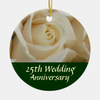 Ivory Rose 25th Anniversary Tree Ornament