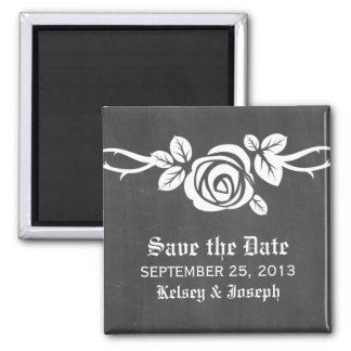 Ivory Rose Chalkboard Save the Date Magnet