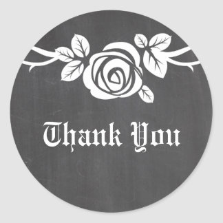Ivory Rose Chalkboard Thank You Stickers
