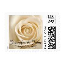 Ivory Rose Custom Wedding Postage Stamps