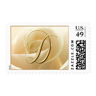 Ivory Rose Monogram postage - letter D