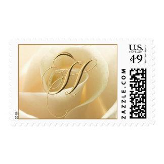 Ivory Rose Monogram stamps - letter H