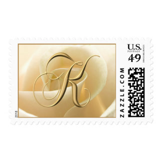 Ivory Rose Monogram Stamps - letter K