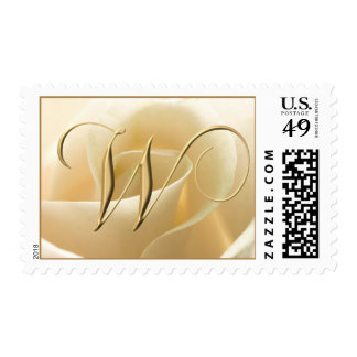 Ivory Rose Monogram Stamps - letter W