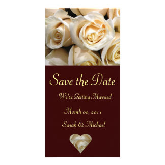 Ivory Rose Wedding Announcement Card Photo Card