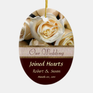Ivory Rose Wedding Favor Keepsake Christmas Tree Ornament