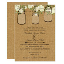 ivory roses burlap mason jar wedding invites
