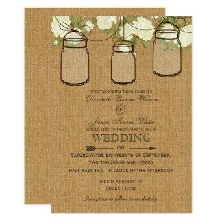 ivory roses burlap  mason jar wedding invites