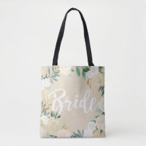 Ivory Roses Floral Wreath Wedding Party Bride Tote Bag