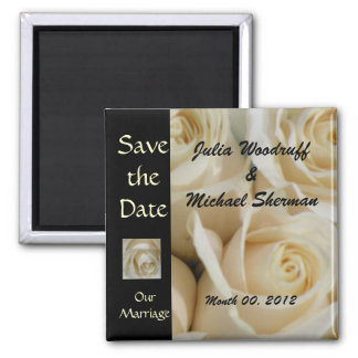 Ivory Roses Save the Date Magnet