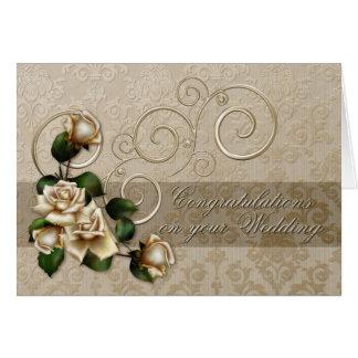Ivory Roses Wedding Card