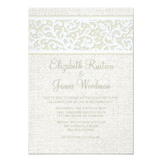 "Ivory Rustic Burlap & Linen Wedding Invitations 5"" X 7"" Invitation Card"