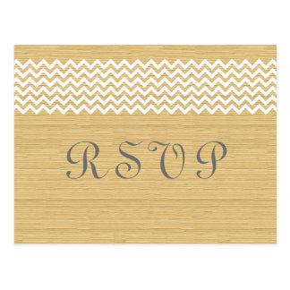 Ivory Rustic Chevron RSVP Postcard