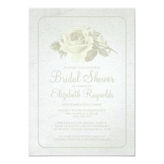 Ivory Rustic Floral/Flower Bridal Shower Invites Invitation