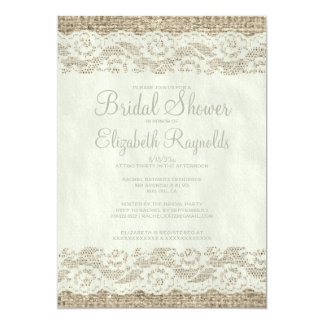 Ivory Rustic Lace Bridal Shower Invitations Invitation