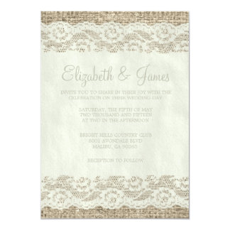 "Ivory Rustic Lace Wedding Invitations 5"" X 7"" Invitation Card"