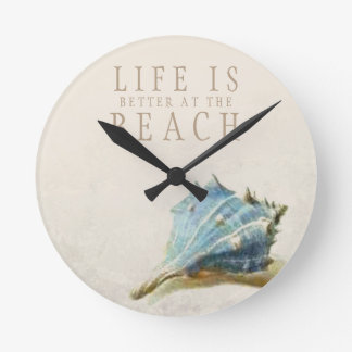 Ivory Seashell Life is Better at the Beach Clock