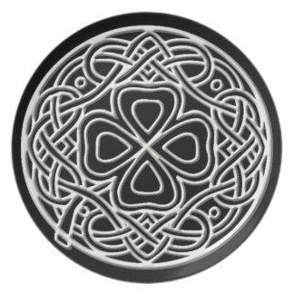 Ivory Shamrock Black Melamine Plate