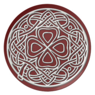 Ivory Shamrock Burgundy Melamine Plate