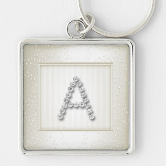 Ivory Shimmer and Sparkle with Monogram Keychain