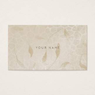 Ivory Silver Pearl Gray Zebra Floral Vip Business Card