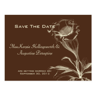 Ivory Sketched Flower on Brown Save The Date Postcard
