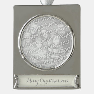 Ivory Solid Color Customize It Silver Plated Banner Ornament