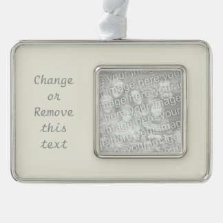 Ivory Solid Color Customize It Silver Plated Framed Ornament