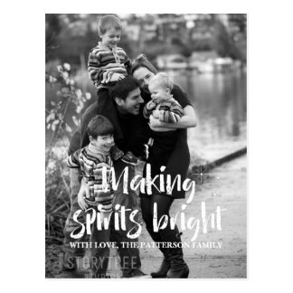 Ivory Starry Making Spirits Bright Holiday Photo Postcard