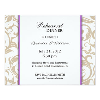 Ivory Swirl Rehearsal Dinner Card with Purple