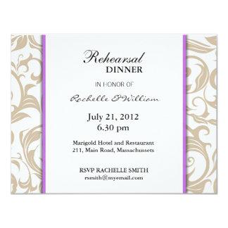 Ivory Swirl Rehearsal Dinner Card with Purple