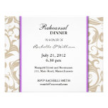 Ivory Swirl Rehearsal Dinner Card with Purple Personalized Invites