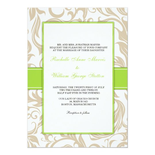 Ivory Swirl Wedding Invitation with Green