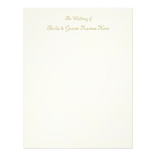 Ivory Swirls Vintage Background Guestbook Pages Custom Letterhead