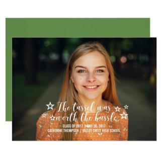 Ivory Tassel Worth Hassle Photo Graduation Card