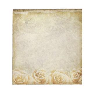 Ivory & Taupe Vintage Roses Distressed Beige Notepad