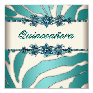 Ivory Teal Blue Zebra Quinceanera Card